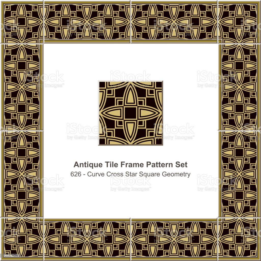 Antique tile frame pattern set curve cross star square geometry royalty-free antique tile frame pattern set curve cross star square geometry stock vector art & more images of antique
