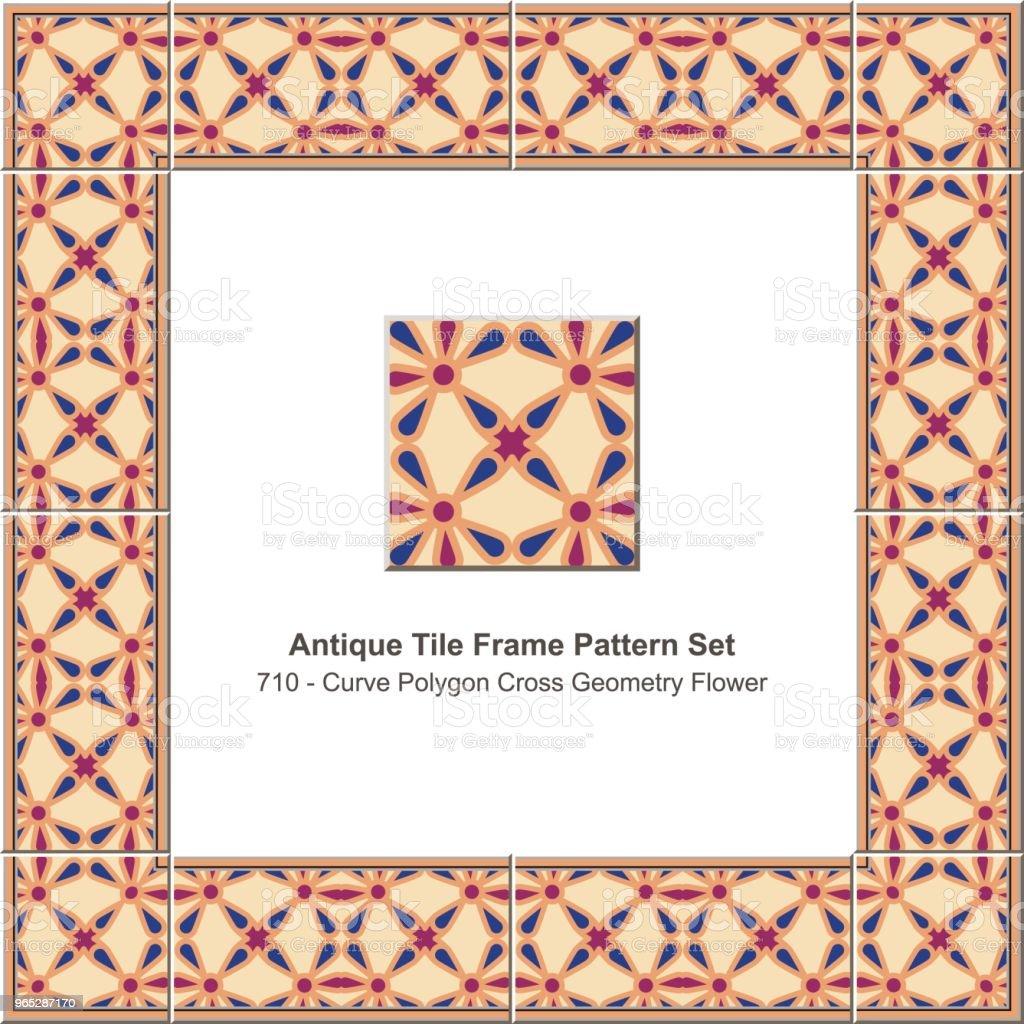 Antique tile frame pattern set curve polygon cross geometry flower antique tile frame pattern set curve polygon cross geometry flower - stockowe grafiki wektorowe i więcej obrazów antyczny royalty-free