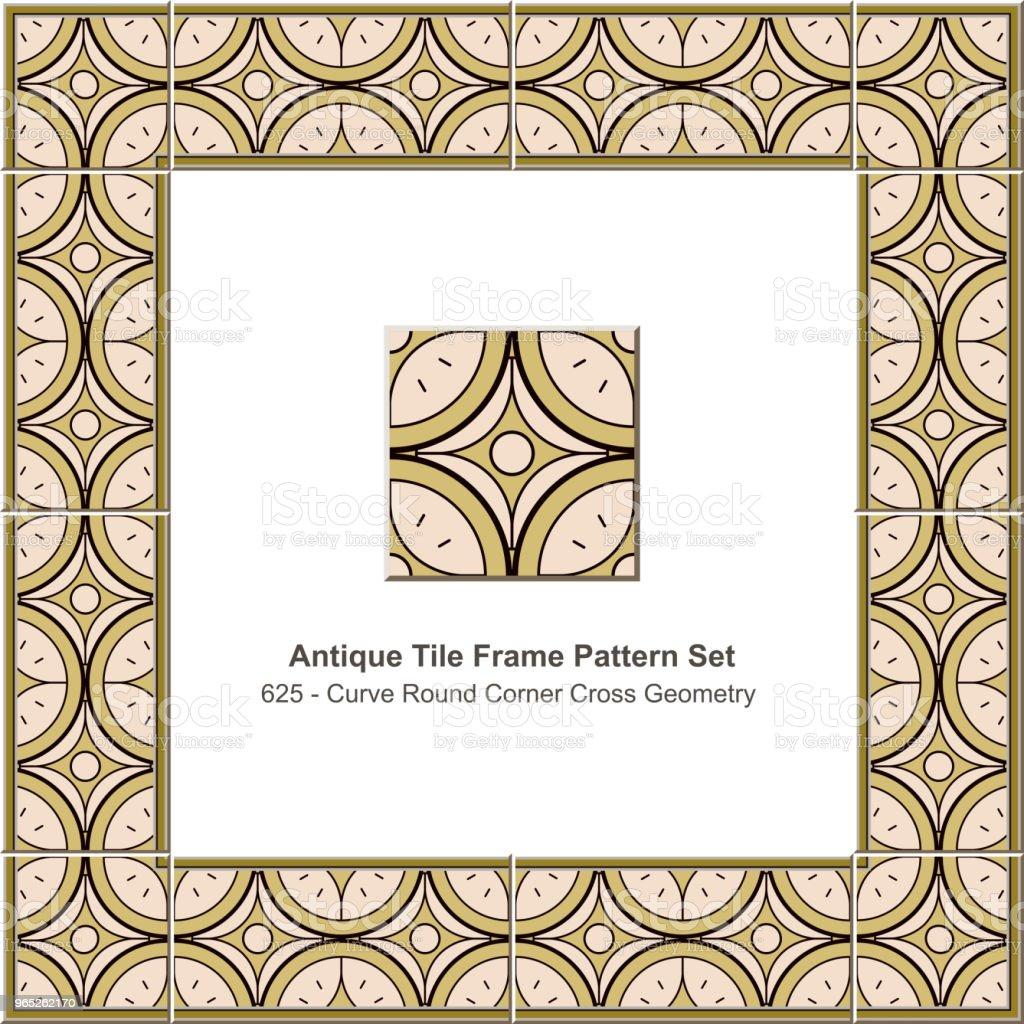 Antique tile frame pattern set curve round corner cross star geometry antique tile frame pattern set curve round corner cross star geometry - stockowe grafiki wektorowe i więcej obrazów antyczny royalty-free