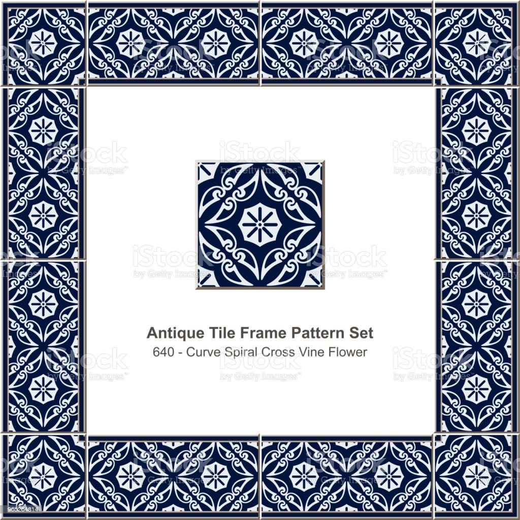 Antique tile frame pattern set curve spiral cross vine flower royalty-free antique tile frame pattern set curve spiral cross vine flower stock vector art & more images of antique