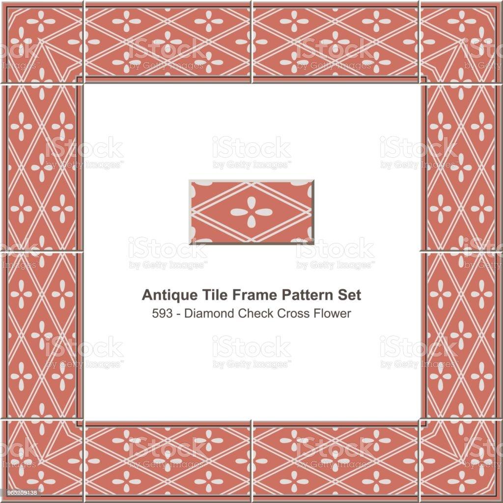 Antique tile frame pattern set diamond check cross geometry flower antique tile frame pattern set diamond check cross geometry flower - stockowe grafiki wektorowe i więcej obrazów antyczny royalty-free