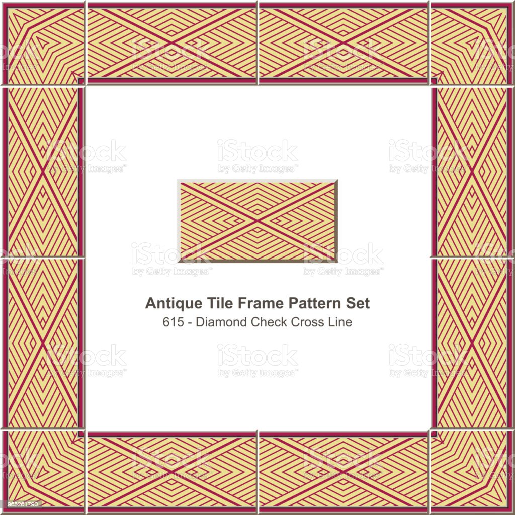 Antique tile frame pattern set diamond check cross geometry line antique tile frame pattern set diamond check cross geometry line - stockowe grafiki wektorowe i więcej obrazów antyczny royalty-free