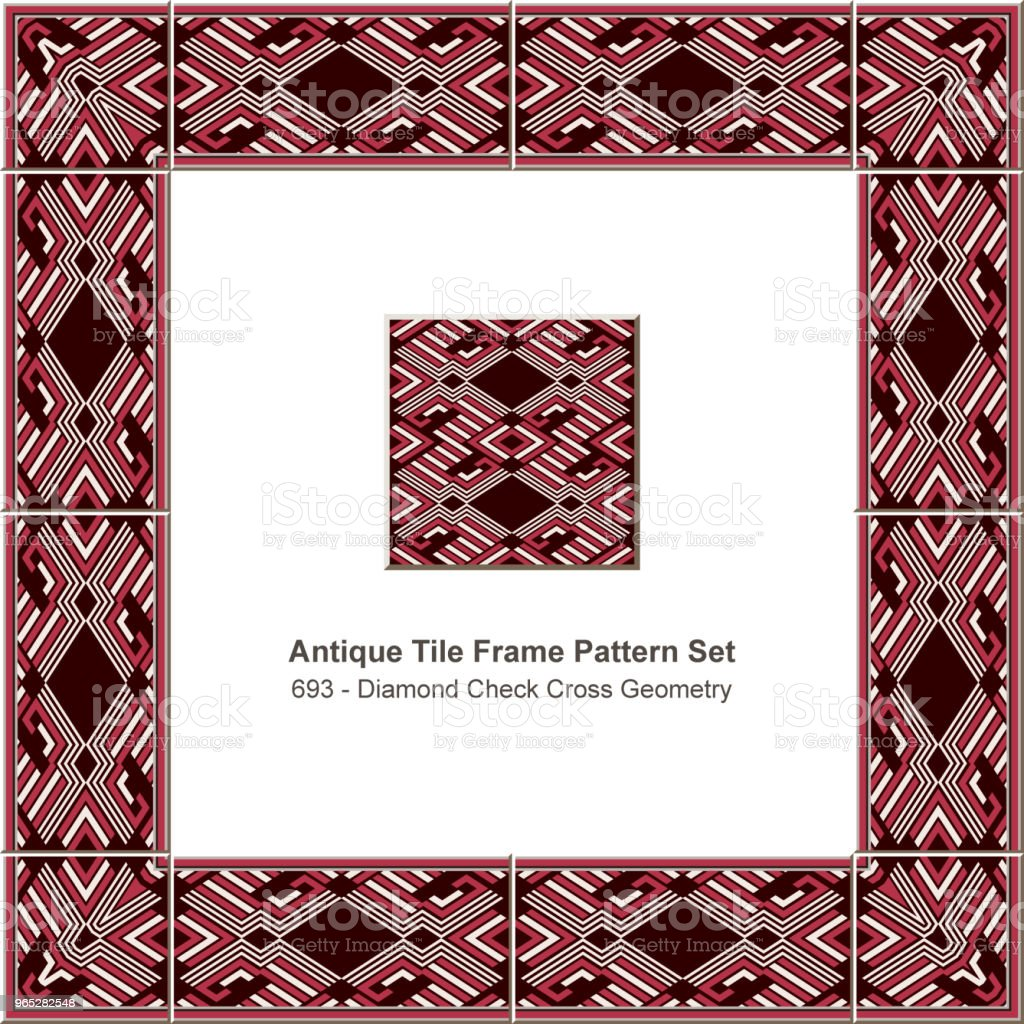 Antique tile frame pattern set diamond check cross geometry royalty-free antique tile frame pattern set diamond check cross geometry stock vector art & more images of antique