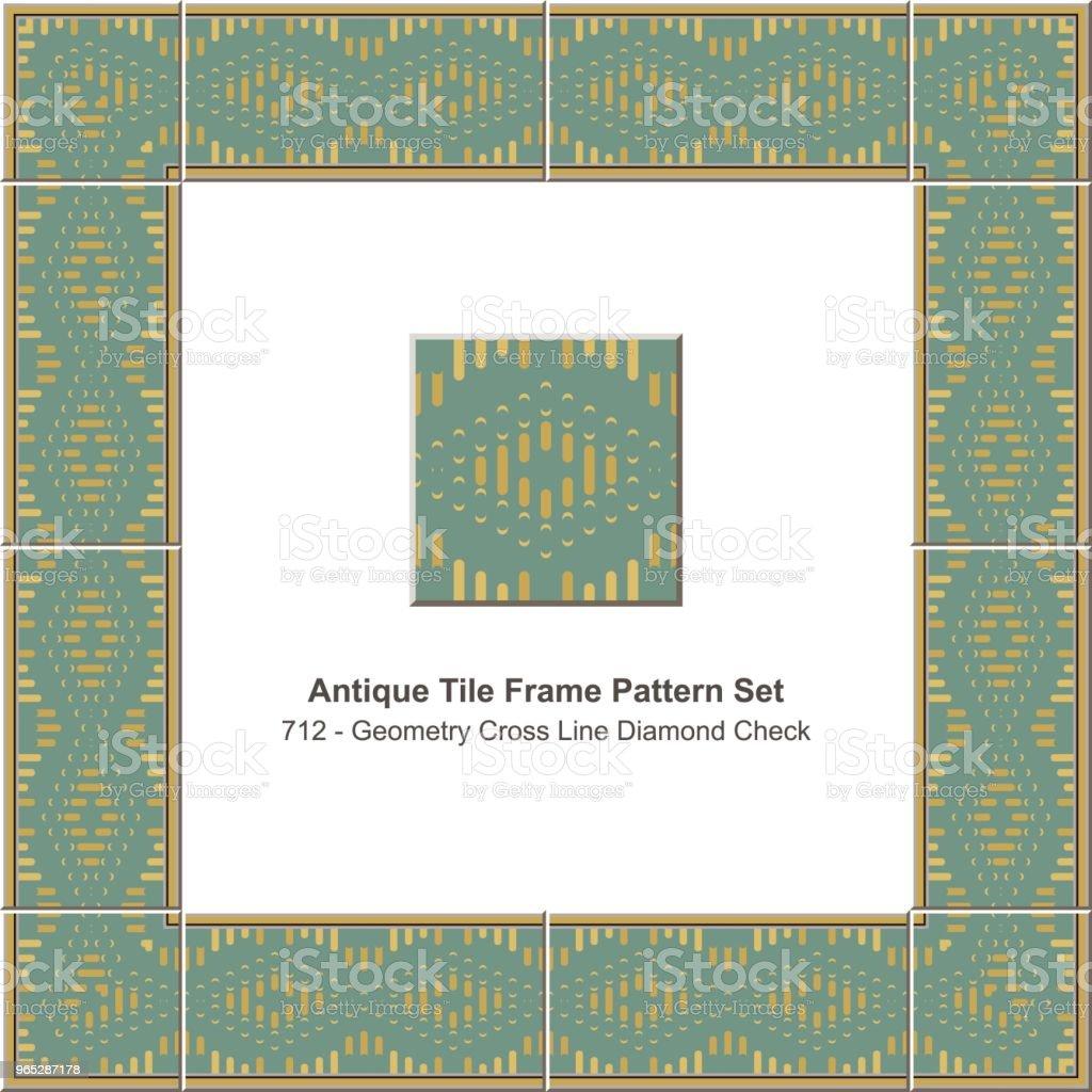 Antique tile frame pattern set geometry cross line diamond check antique tile frame pattern set geometry cross line diamond check - stockowe grafiki wektorowe i więcej obrazów antyczny royalty-free