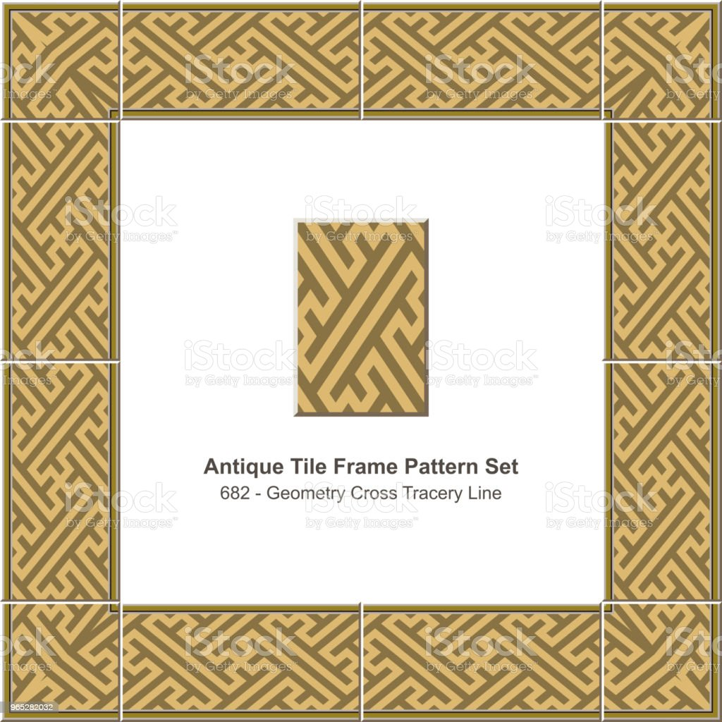 Antique tile frame pattern set geometry cross spiral tracery antique tile frame pattern set geometry cross spiral tracery - stockowe grafiki wektorowe i więcej obrazów antyczny royalty-free
