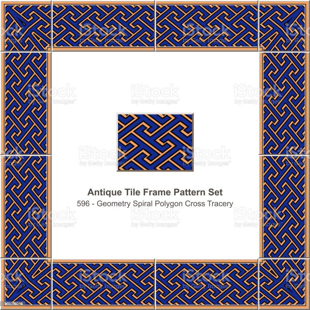 Antique tile frame pattern set geometry spiral polygon cross tracery antique tile frame pattern set geometry spiral polygon cross tracery - stockowe grafiki wektorowe i więcej obrazów antyczny royalty-free