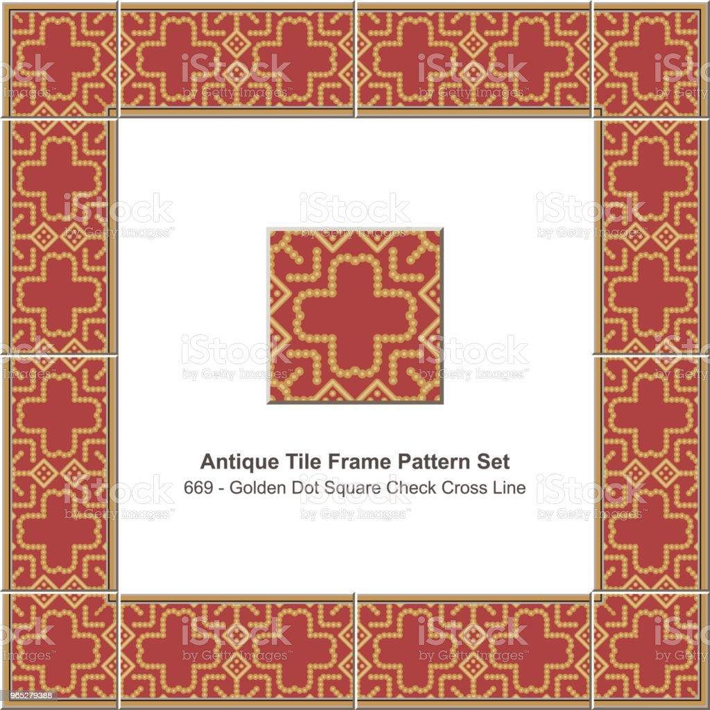 Antique tile frame pattern set golden check square cross dot line antique tile frame pattern set golden check square cross dot line - stockowe grafiki wektorowe i więcej obrazów antyczny royalty-free