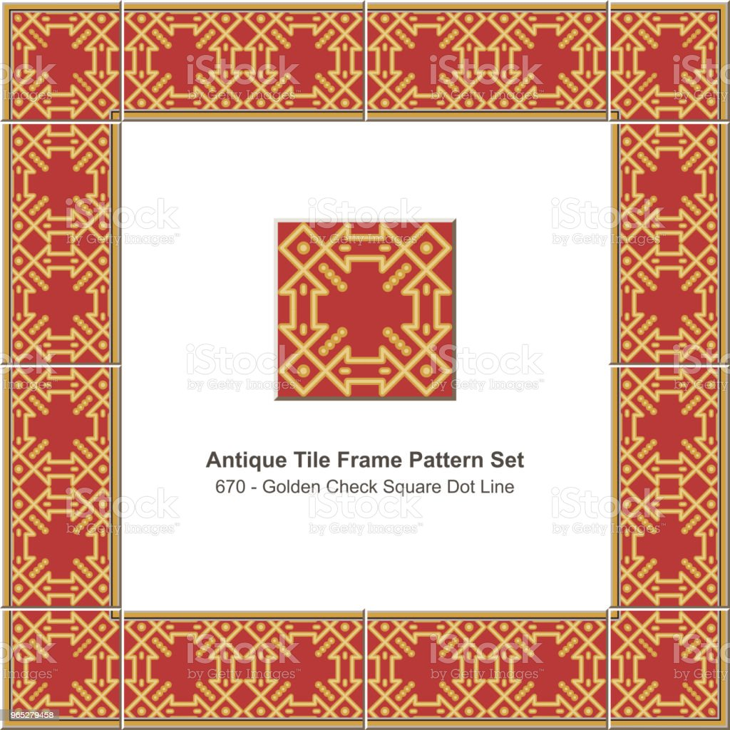Antique tile frame pattern set golden check square dot line royalty-free antique tile frame pattern set golden check square dot line stock vector art & more images of antique