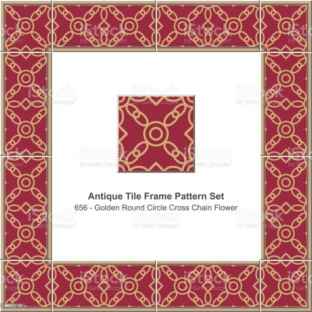 Antique tile frame pattern set golden round circle cross chain flower royalty-free antique tile frame pattern set golden round circle cross chain flower stock vector art & more images of antique
