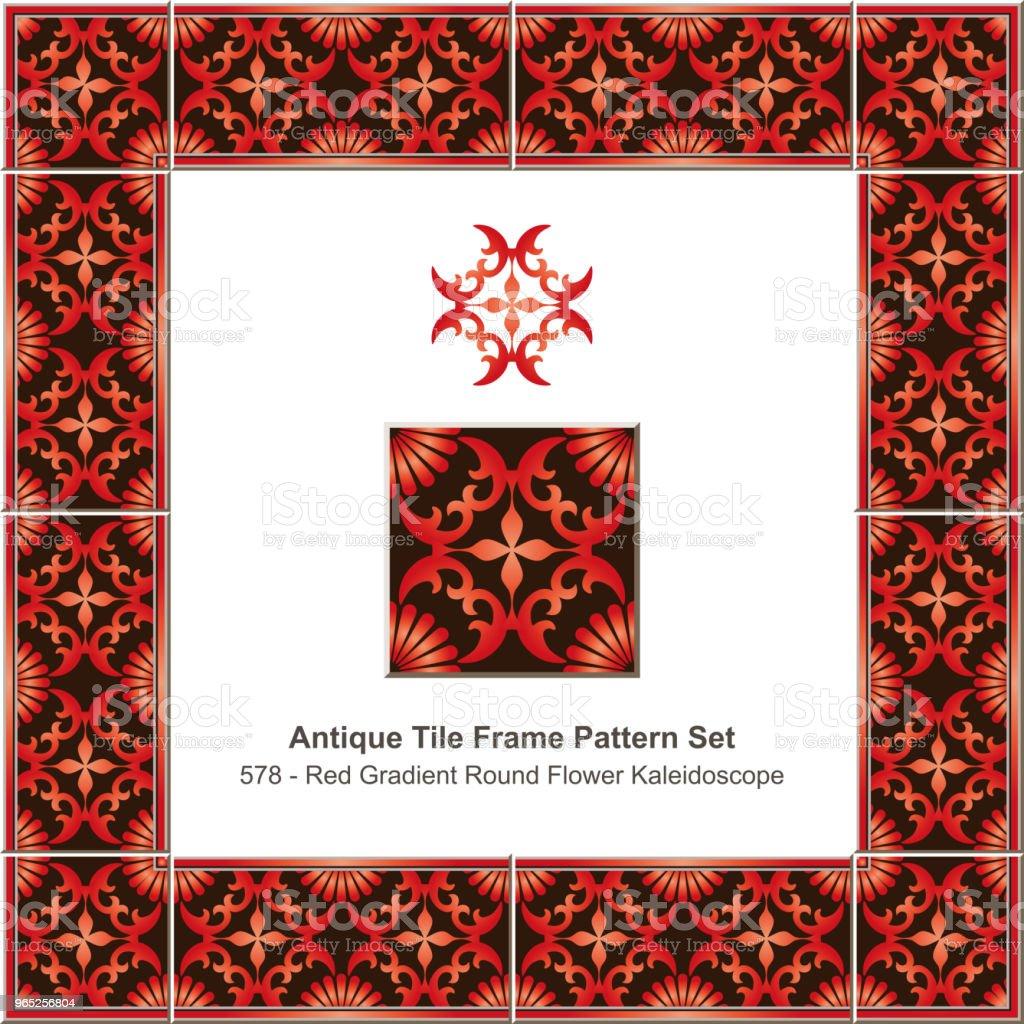 Antique tile frame pattern set gradient red round cross flower kaleidoscope antique tile frame pattern set gradient red round cross flower kaleidoscope - stockowe grafiki wektorowe i więcej obrazów antyczny royalty-free