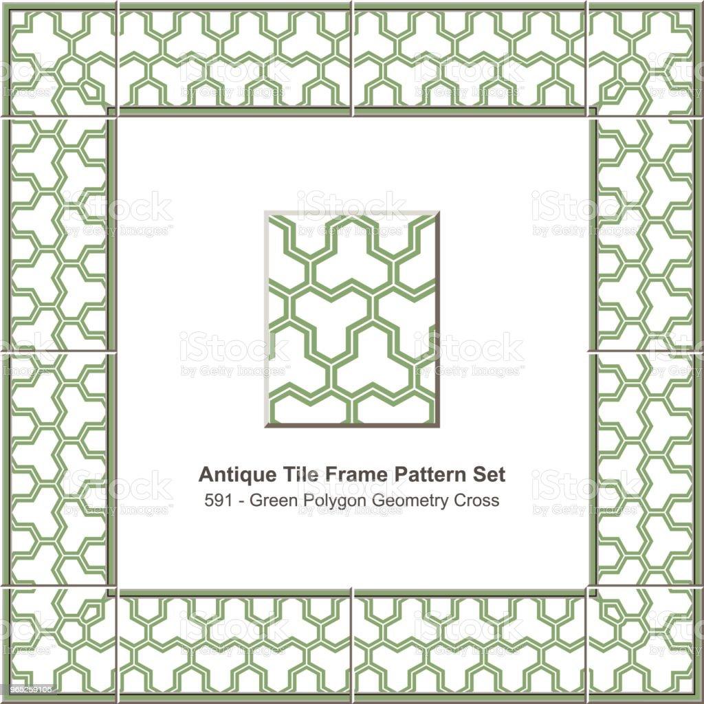 Antique tile frame pattern set green polygon geometry cross lattice antique tile frame pattern set green polygon geometry cross lattice - stockowe grafiki wektorowe i więcej obrazów antyczny royalty-free