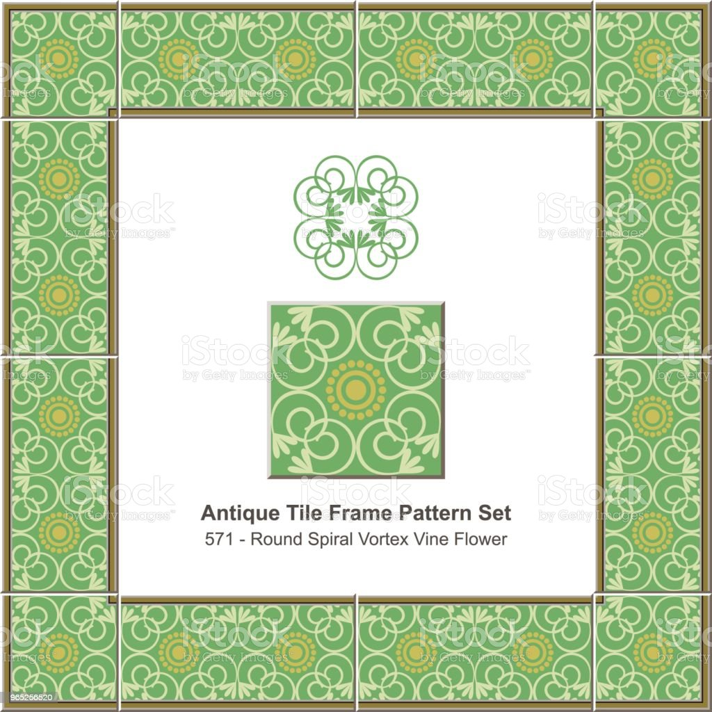 Antique tile frame pattern set green round curve spiral cross vine flower royalty-free antique tile frame pattern set green round curve spiral cross vine flower stock vector art & more images of antique