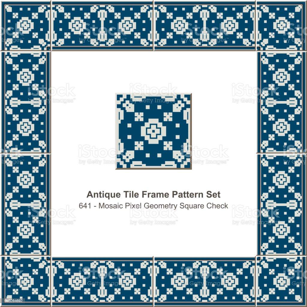 Antique tile frame pattern set mosaic pixel geometry square check antique tile frame pattern set mosaic pixel geometry square check - stockowe grafiki wektorowe i więcej obrazów antyczny royalty-free