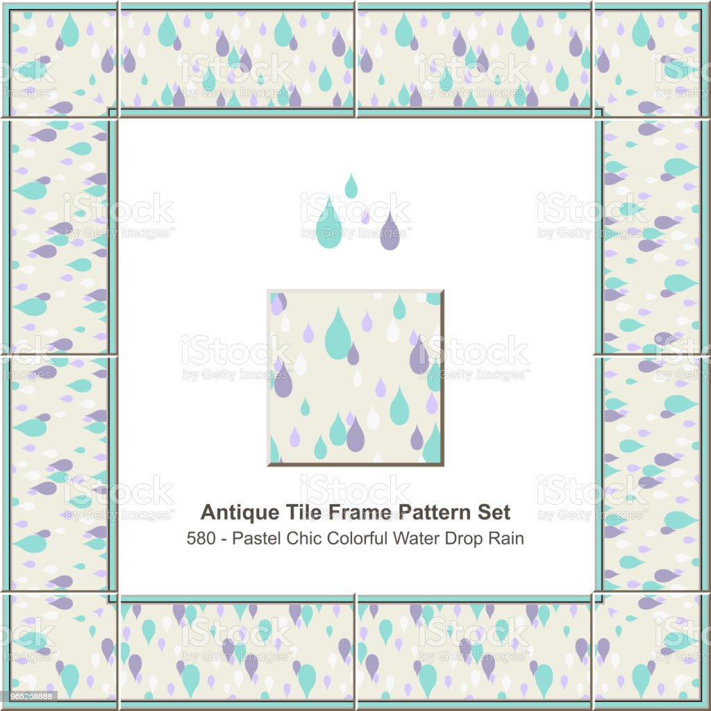 Antique tile frame pattern set pastel chic colorful water drop rain royalty-free antique tile frame pattern set pastel chic colorful water drop rain stock vector art & more images of antique