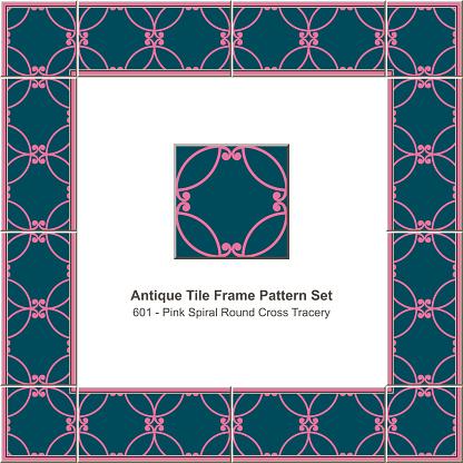 Antique Tile Frame Pattern Set Pink Round Cure Cross Tracery - Stockowe grafiki wektorowe i więcej obrazów Antyczny