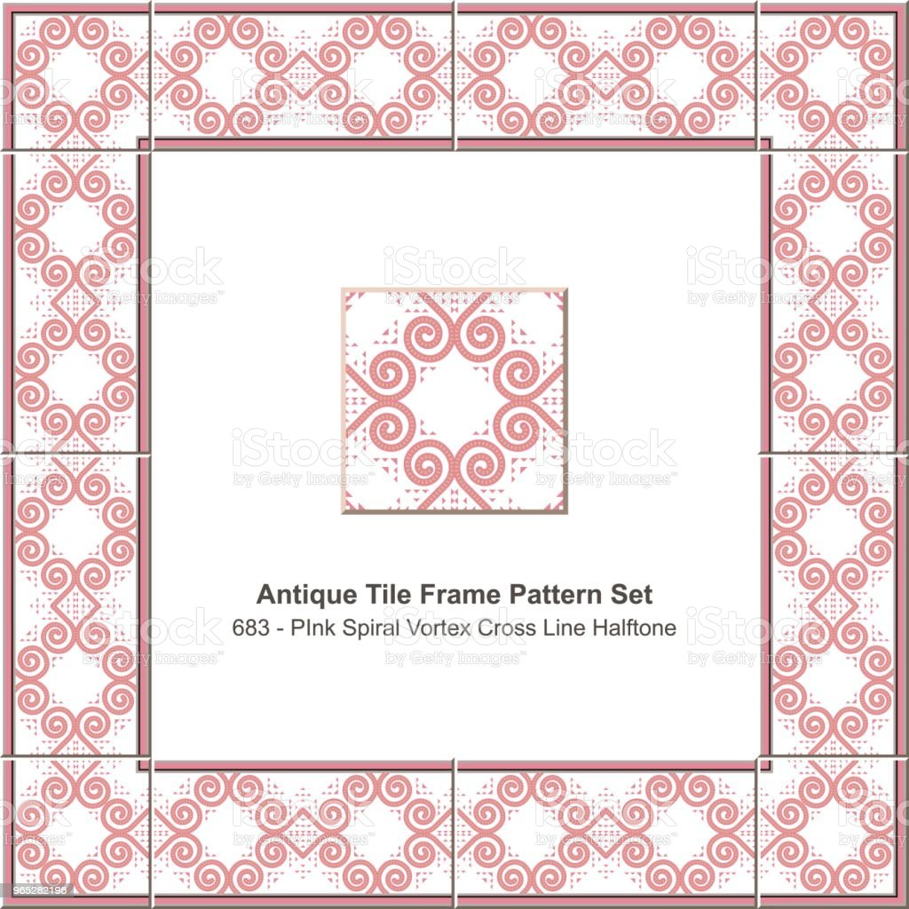 Antique tile frame pattern set pink spiral vortex cross line halftone royalty-free antique tile frame pattern set pink spiral vortex cross line halftone stock vector art & more images of antique