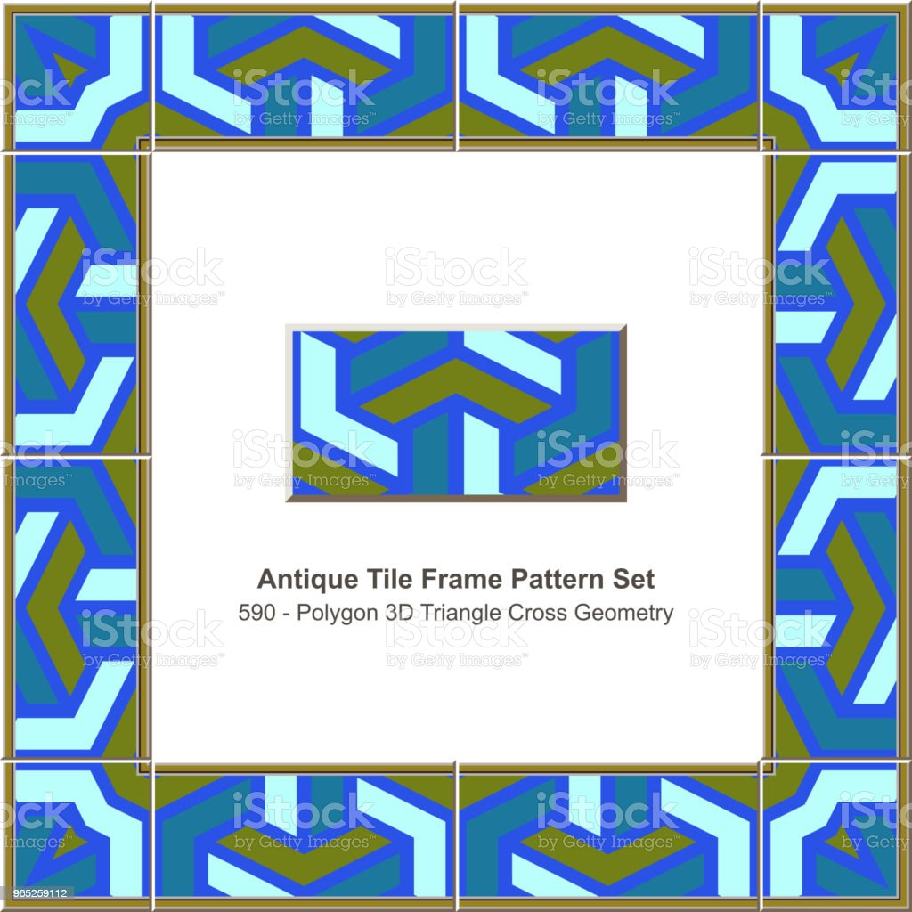 Antique tile frame pattern set polygon 3D triangle geometry cross royalty-free antique tile frame pattern set polygon 3d triangle geometry cross stock vector art & more images of antique