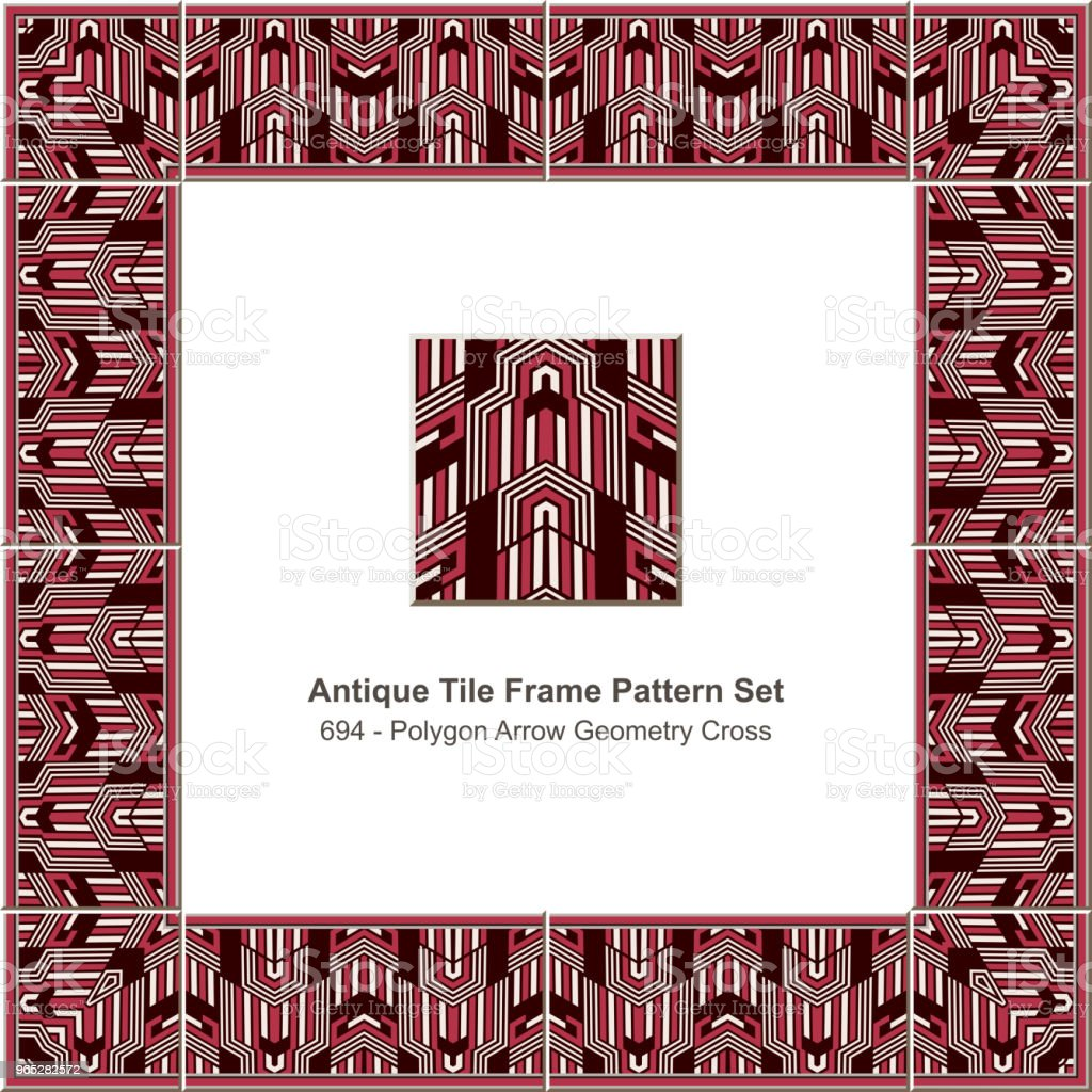 Antique tile frame pattern set polygon arrow geometry cross royalty-free antique tile frame pattern set polygon arrow geometry cross stock vector art & more images of antique