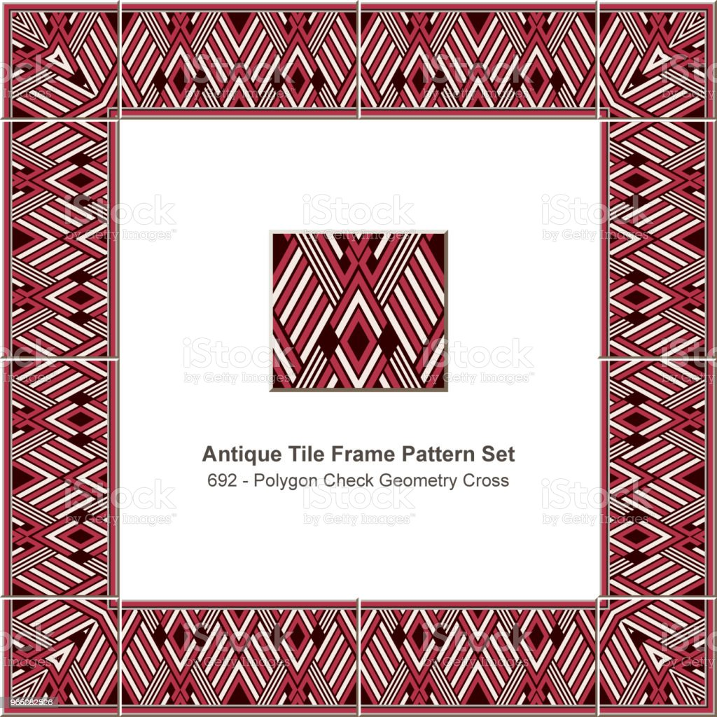 Antique tile frame pattern set polygon check geometry cross antique tile frame pattern set polygon check geometry cross - stockowe grafiki wektorowe i więcej obrazów antyczny royalty-free