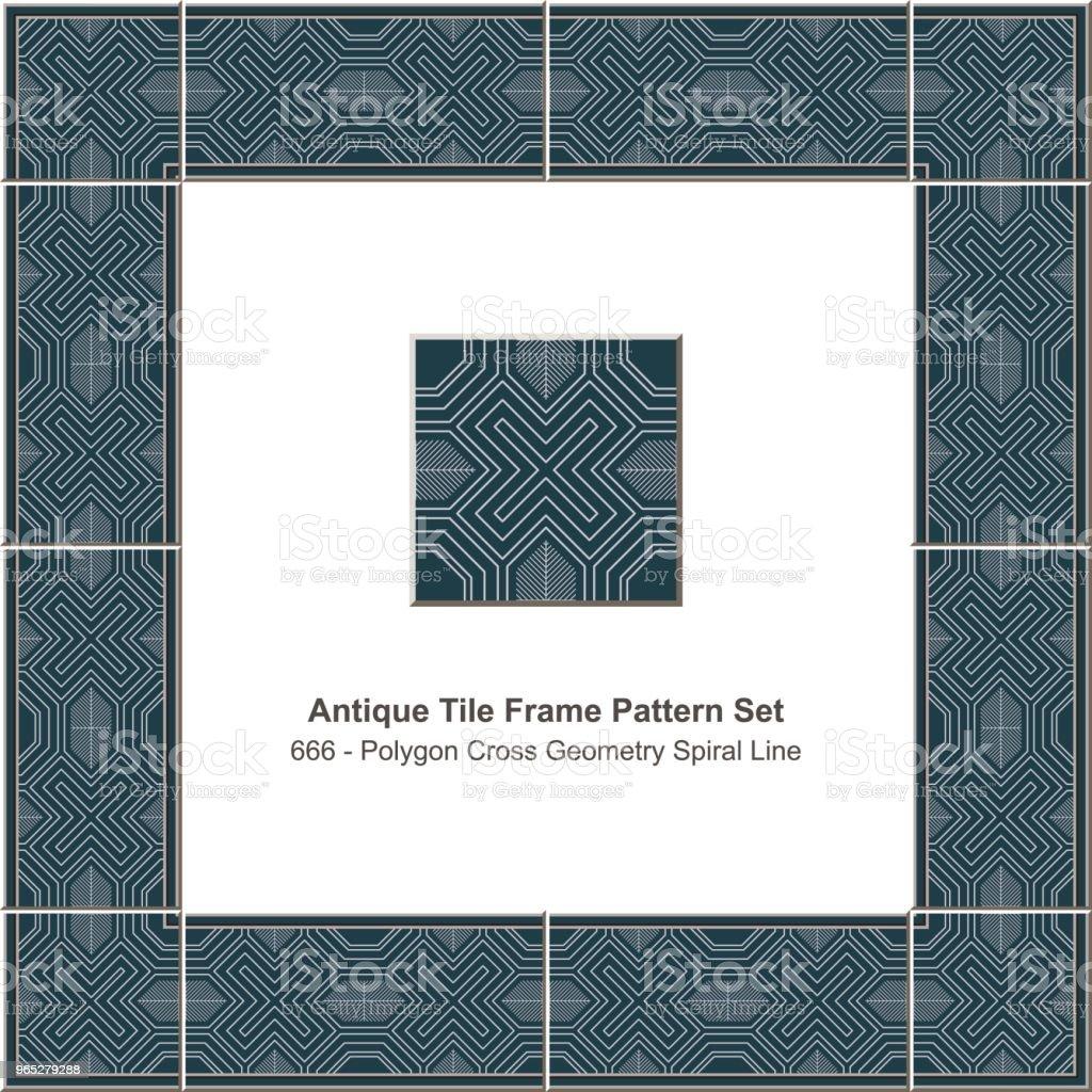 Antique tile frame pattern set polygon cross geometry spiral line antique tile frame pattern set polygon cross geometry spiral line - stockowe grafiki wektorowe i więcej obrazów antyczny royalty-free
