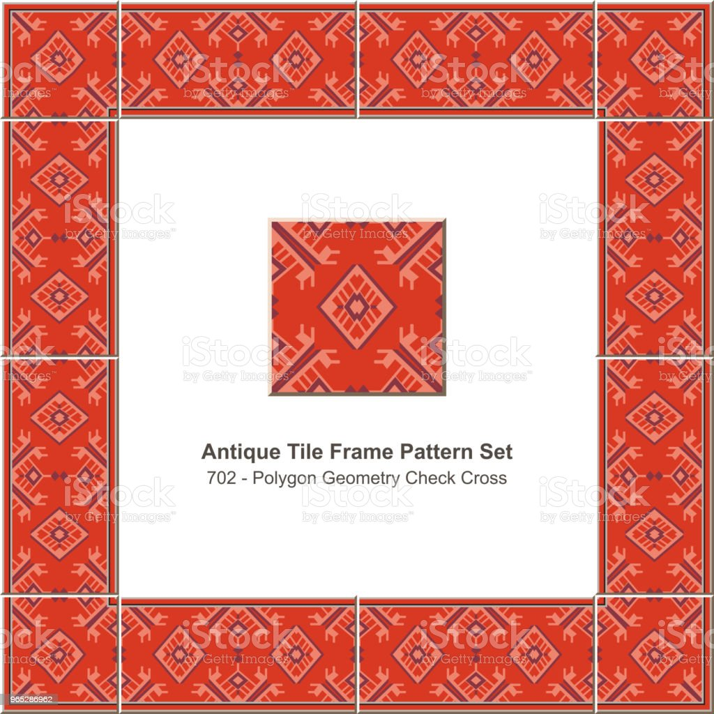 Antique tile frame pattern set polygon geometry check cross royalty-free antique tile frame pattern set polygon geometry check cross stock illustration - download image now