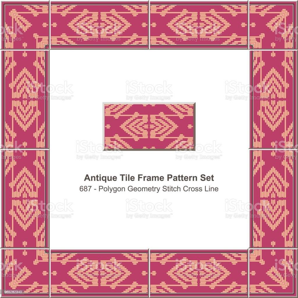 Antique tile frame pattern set polygon geometry stitch cross line royalty-free antique tile frame pattern set polygon geometry stitch cross line stock vector art & more images of antique