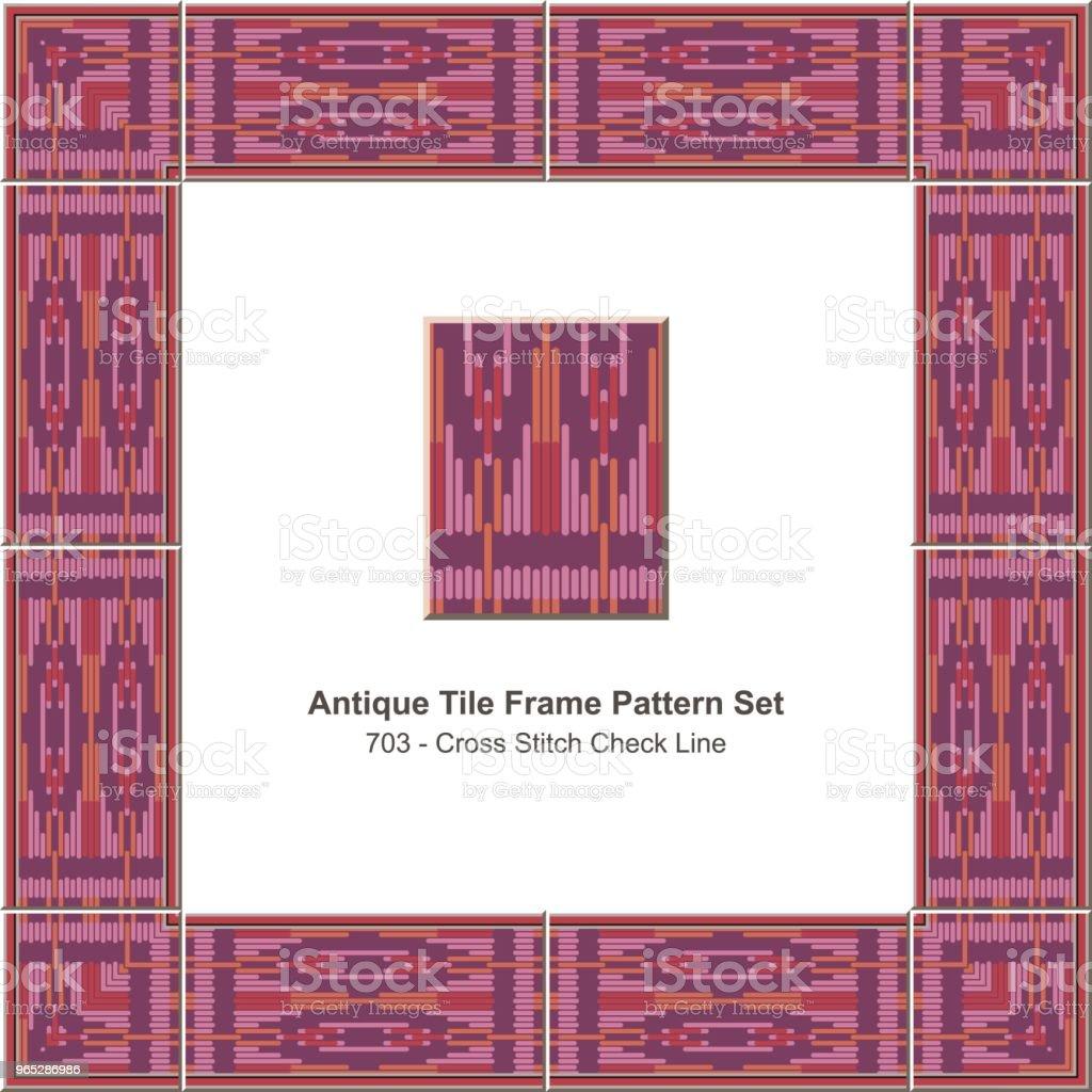 Antique tile frame pattern set purple red cross stitch check line antique tile frame pattern set purple red cross stitch check line - stockowe grafiki wektorowe i więcej obrazów antyczny royalty-free