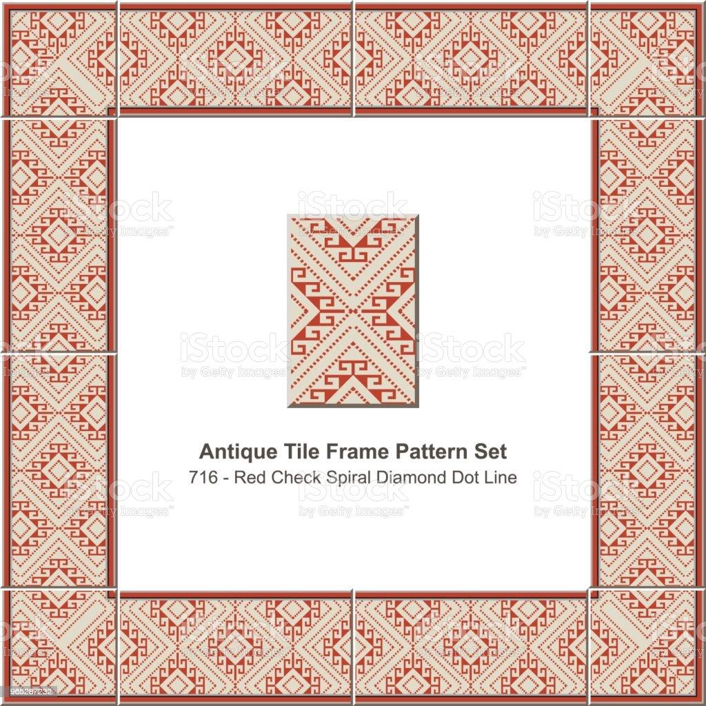 Antique tile frame pattern set red check spiral diamond dot line antique tile frame pattern set red check spiral diamond dot line - stockowe grafiki wektorowe i więcej obrazów antyczny royalty-free