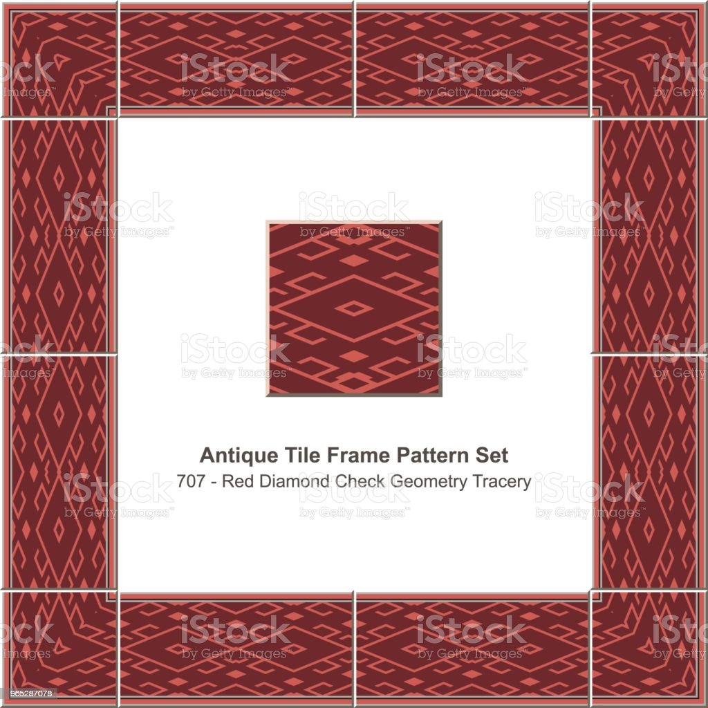 Antique tile frame pattern set red diamond check geometry tracery antique tile frame pattern set red diamond check geometry tracery - stockowe grafiki wektorowe i więcej obrazów antyczny royalty-free
