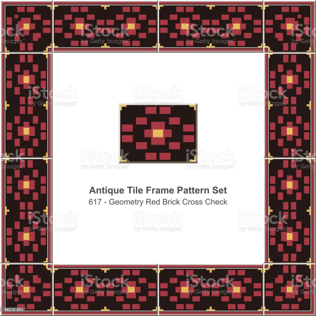 Antique tile frame pattern set red geometry brick cross check royalty-free antique tile frame pattern set red geometry brick cross check stock vector art & more images of antique