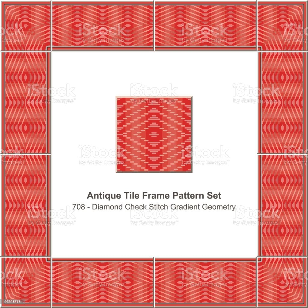 Antique tile frame pattern set red gradient diamond check stitch cross - Grafika wektorowa royalty-free (Antyczny)