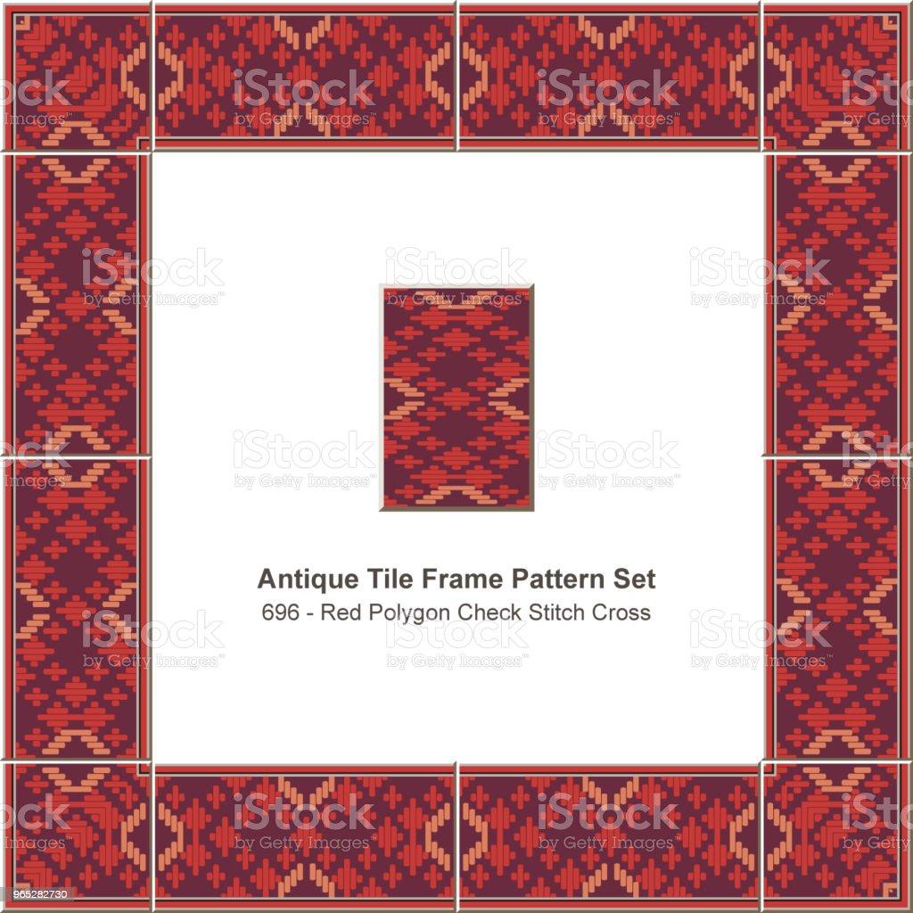 Antique tile frame pattern set red polygon check stitch cross geometry antique tile frame pattern set red polygon check stitch cross geometry - stockowe grafiki wektorowe i więcej obrazów antyczny royalty-free