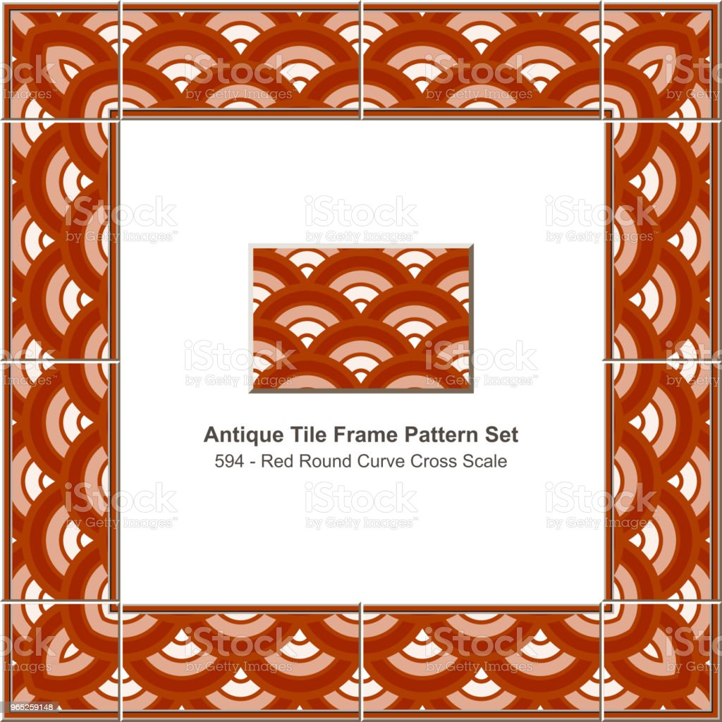 Antique tile frame pattern set red round curve cross scale geometry royalty-free antique tile frame pattern set red round curve cross scale geometry stock vector art & more images of antique
