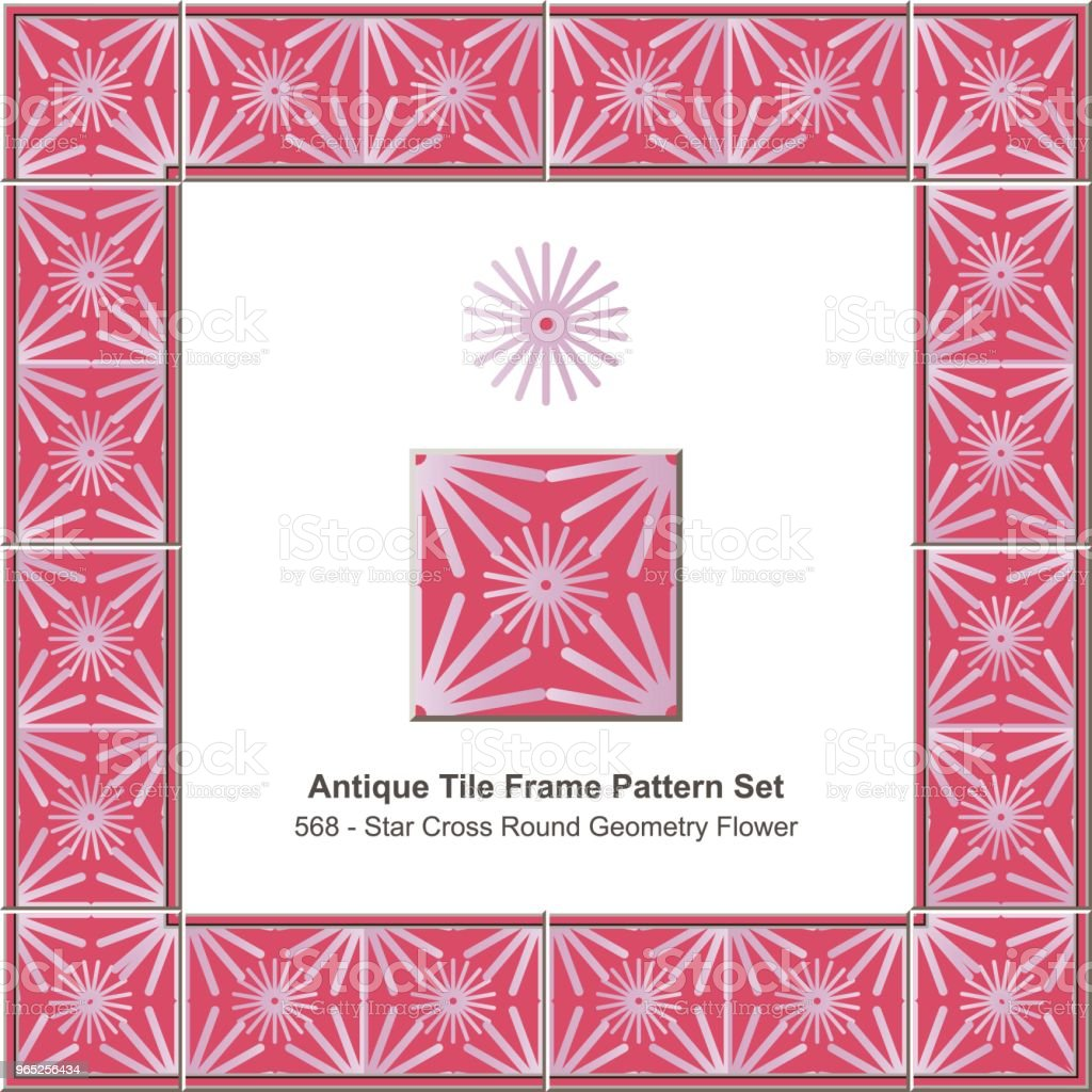 Antique tile frame pattern set red star cross round geometry flower antique tile frame pattern set red star cross round geometry flower - stockowe grafiki wektorowe i więcej obrazów antyczny royalty-free