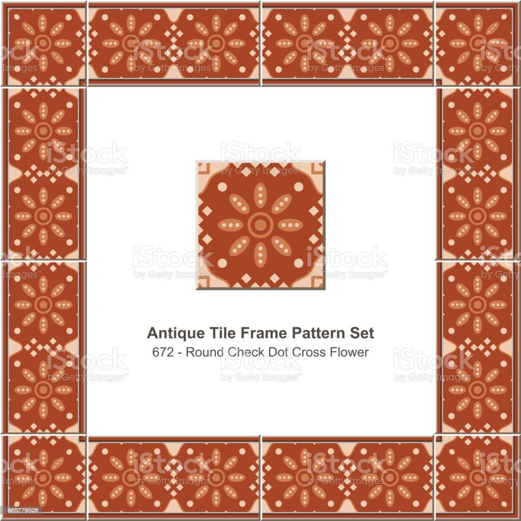 Antique tile frame pattern set round check dot cross flower antique tile frame pattern set round check dot cross flower - stockowe grafiki wektorowe i więcej obrazów antyczny royalty-free