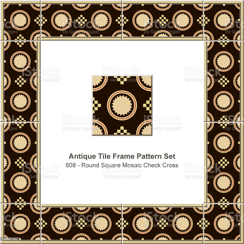 Antique tile frame pattern set round check square mosaic cross geometry royalty-free antique tile frame pattern set round check square mosaic cross geometry stock vector art & more images of antique