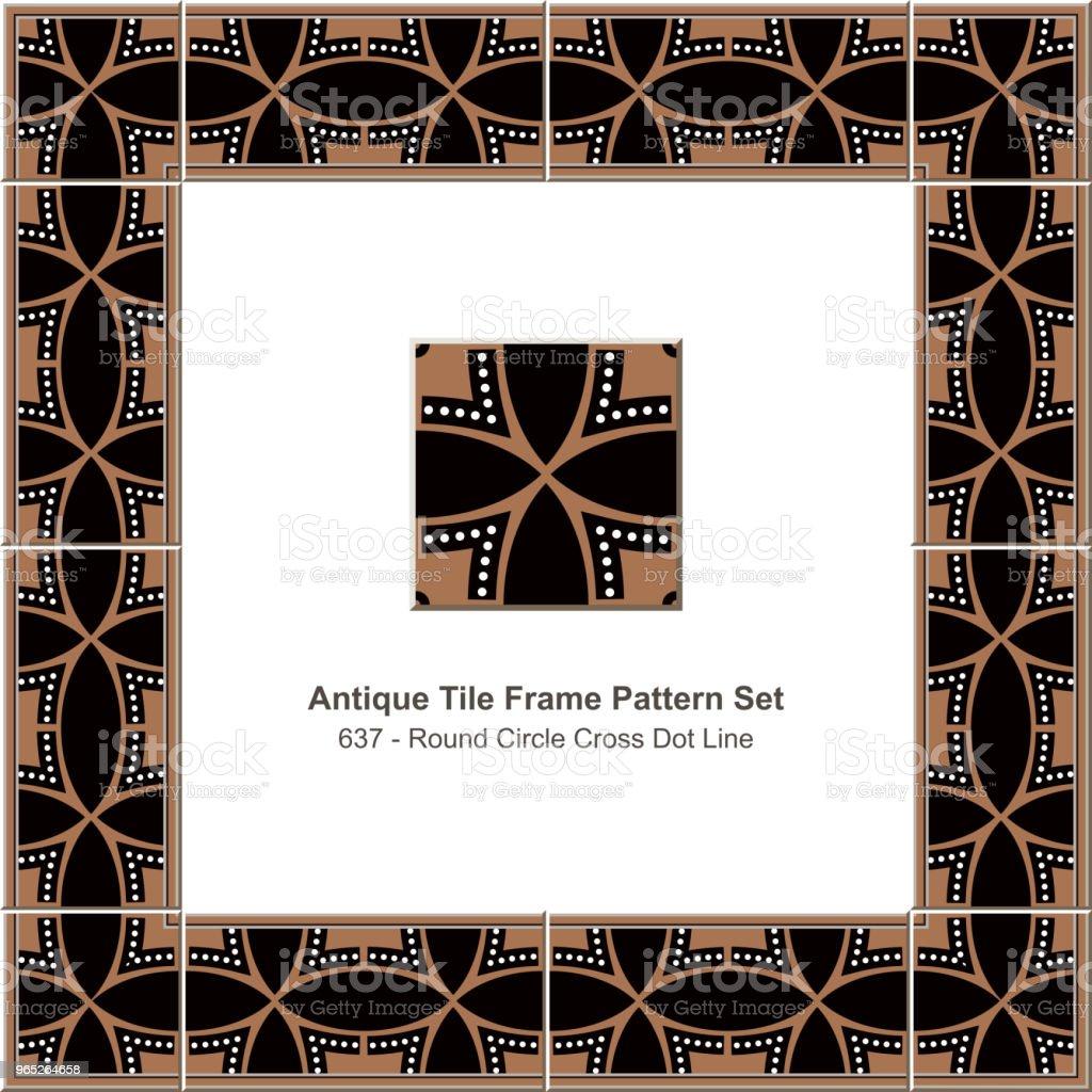 Antique tile frame pattern set round circle cross dot line royalty-free antique tile frame pattern set round circle cross dot line stock vector art & more images of antique