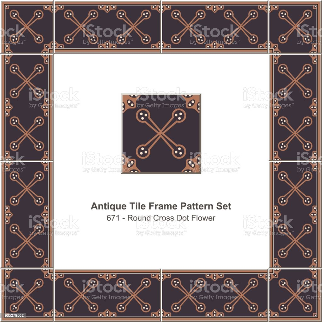Antique tile frame pattern set round cross dot flower royalty-free antique tile frame pattern set round cross dot flower stock vector art & more images of antique