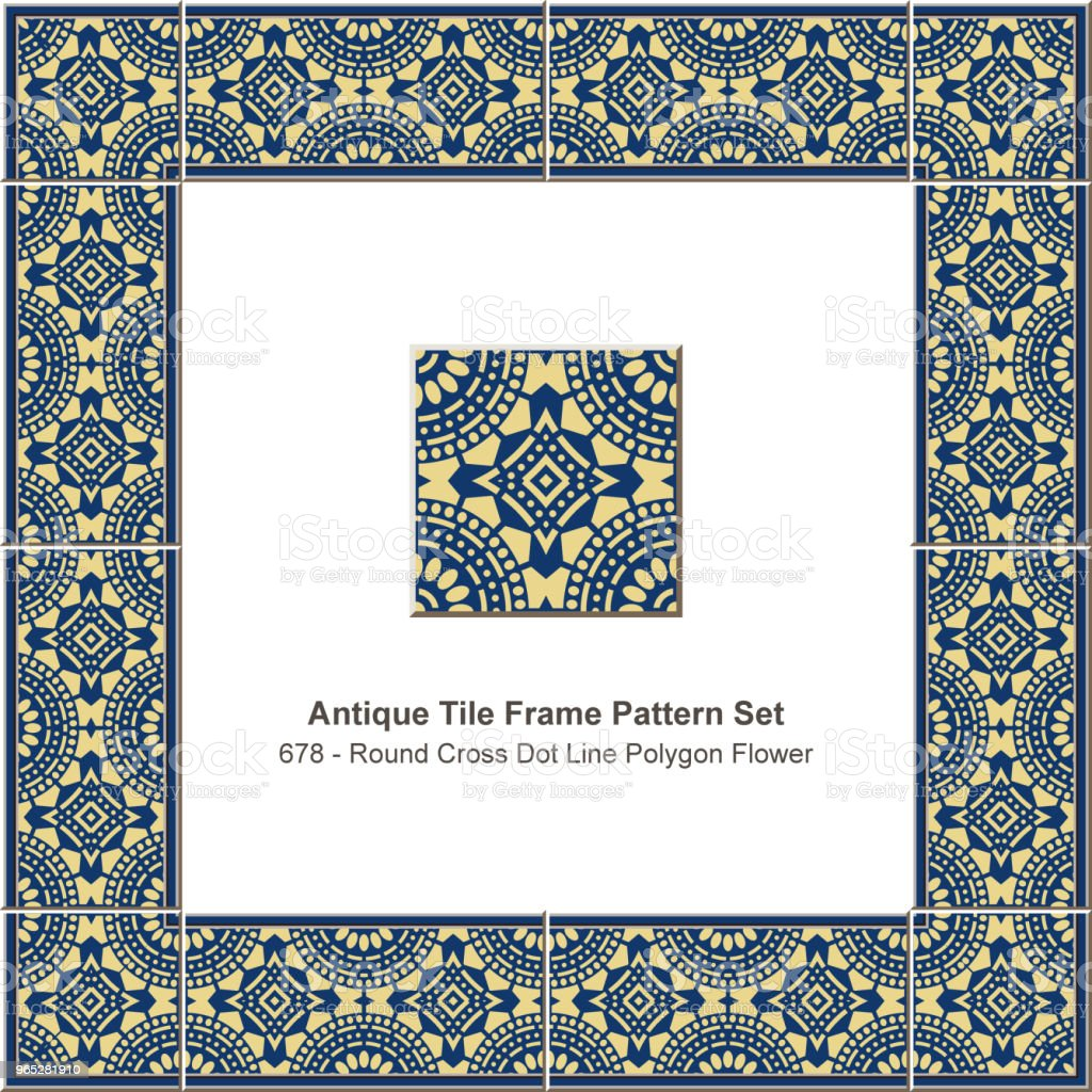 Antique tile frame pattern set round cross dot line polygon flower royalty-free antique tile frame pattern set round cross dot line polygon flower stock vector art & more images of antique