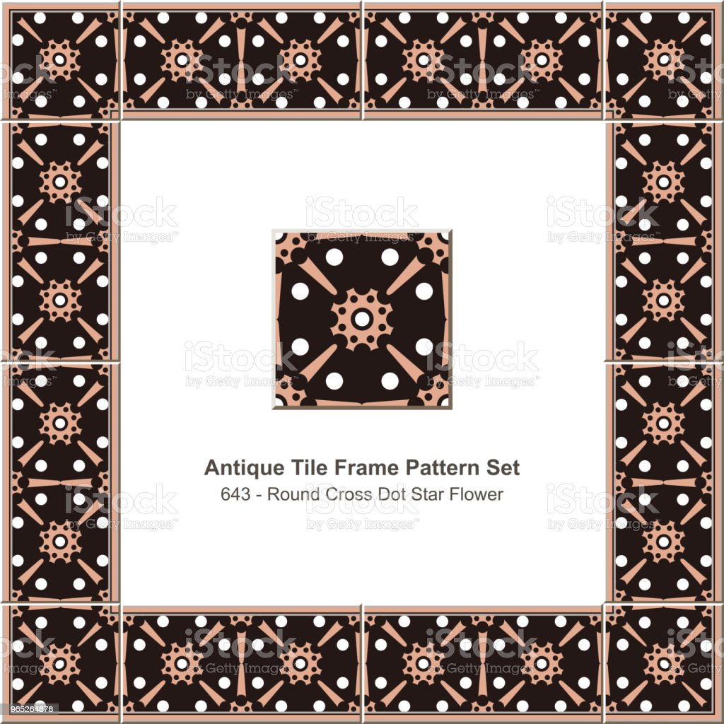 Antique tile frame pattern set round cross dot star flower antique tile frame pattern set round cross dot star flower - stockowe grafiki wektorowe i więcej obrazów antyczny royalty-free