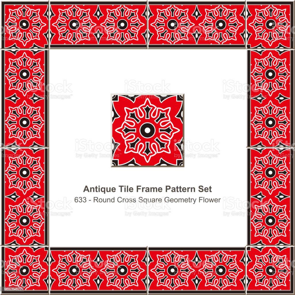 Antique tile frame pattern set round cross square geometry flower antique tile frame pattern set round cross square geometry flower - stockowe grafiki wektorowe i więcej obrazów antyczny royalty-free