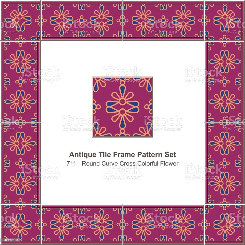 Antique tile frame pattern set round curve cross colorful flower royalty-free antique tile frame pattern set round curve cross colorful flower stock vector art & more images of antique