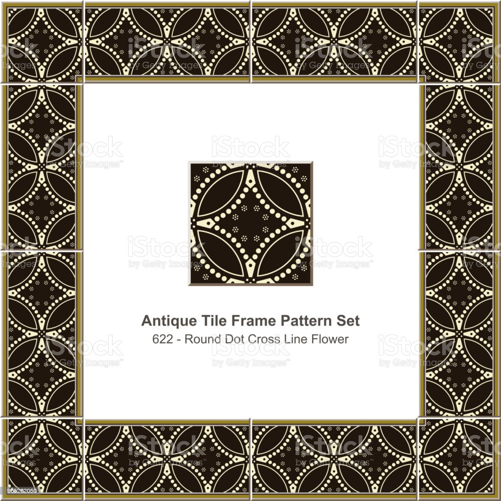 Antique tile frame pattern set round curve cross dot line flower royalty-free antique tile frame pattern set round curve cross dot line flower stock vector art & more images of antique