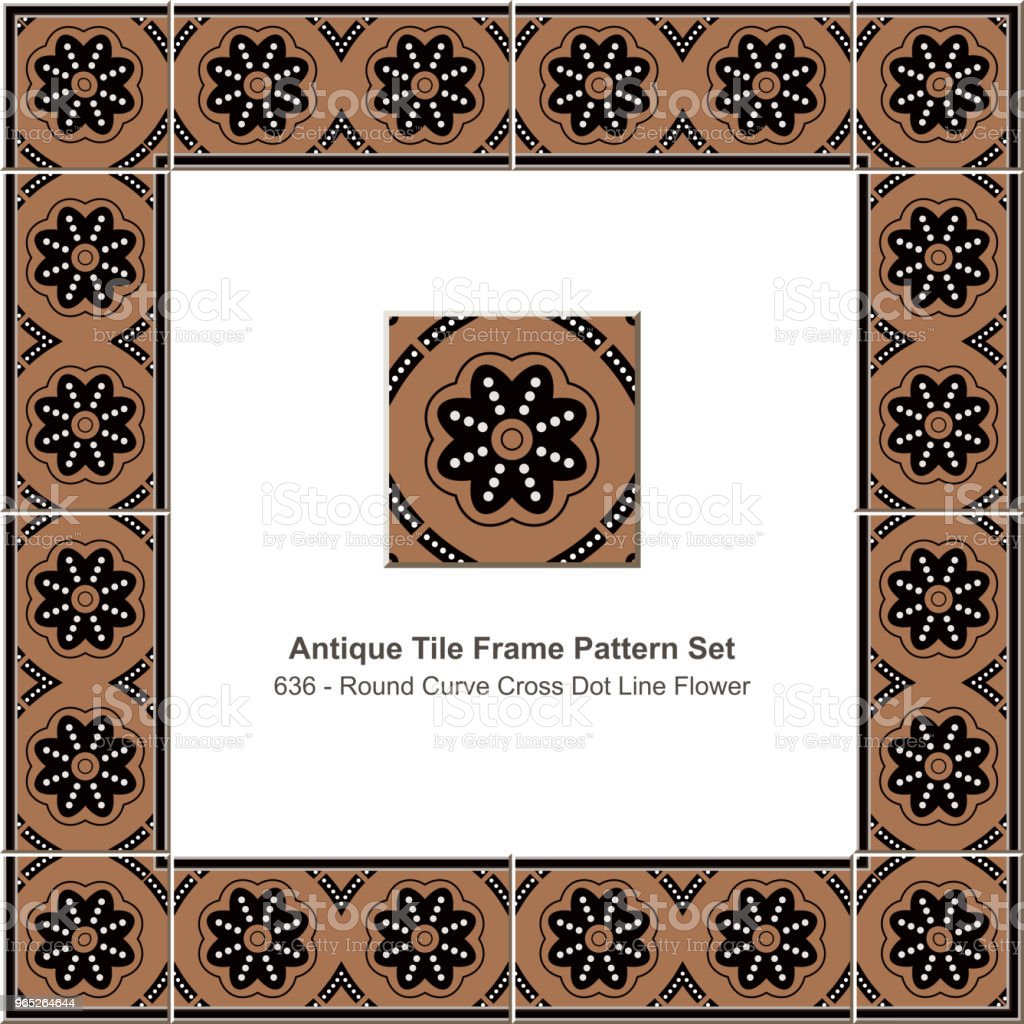 Antique tile frame pattern set round curve cross dot line flower antique tile frame pattern set round curve cross dot line flower - stockowe grafiki wektorowe i więcej obrazów antyczny royalty-free