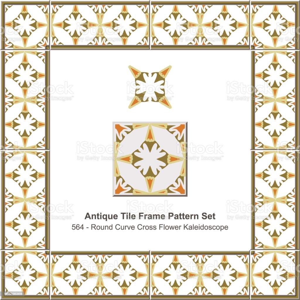 Antique tile frame pattern set round curve cross flower kaleidoscope antique tile frame pattern set round curve cross flower kaleidoscope - stockowe grafiki wektorowe i więcej obrazów antyczny royalty-free