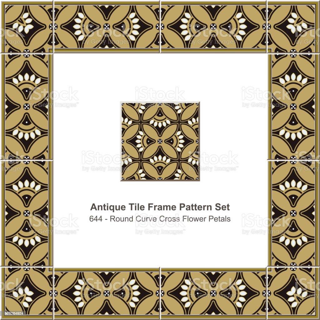 Antique tile frame pattern set round curve cross flower petals antique tile frame pattern set round curve cross flower petals - stockowe grafiki wektorowe i więcej obrazów antyczny royalty-free