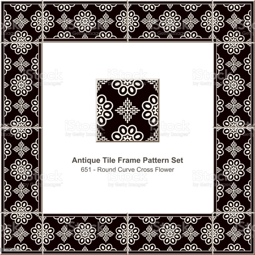 Antique tile frame pattern set round curve cross flower antique tile frame pattern set round curve cross flower - stockowe grafiki wektorowe i więcej obrazów antyczny royalty-free