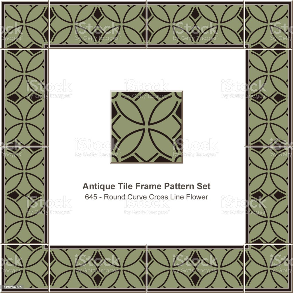 Antique tile frame pattern set round curve cross line flower royalty-free antique tile frame pattern set round curve cross line flower stock vector art & more images of antique