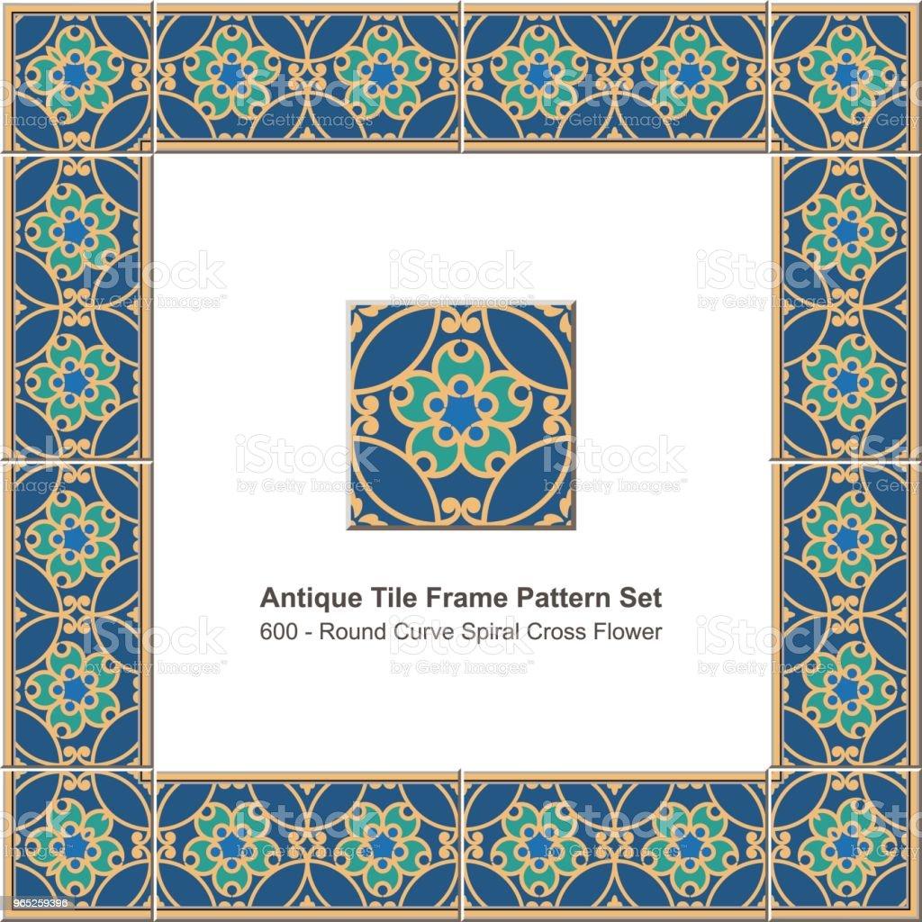 Antique tile frame pattern set round curve cross spiral flower royalty-free antique tile frame pattern set round curve cross spiral flower stock illustration - download image now