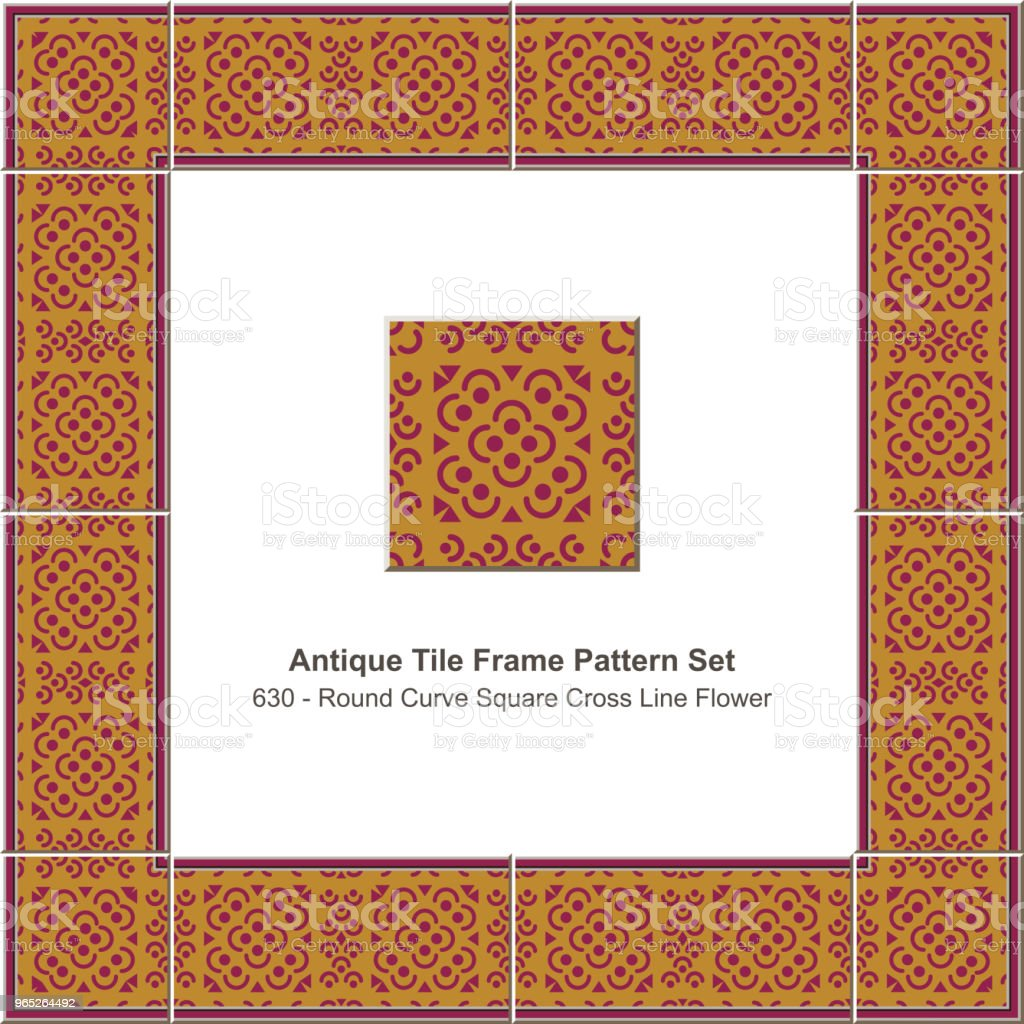 Antique tile frame pattern set round curve square cross line flower royalty-free antique tile frame pattern set round curve square cross line flower stock illustration - download image now